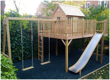 Treehouse 10' x 8' platform with slide access and double swing